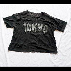 Tops - Black Tokyo cropped T-shirt goth emo style